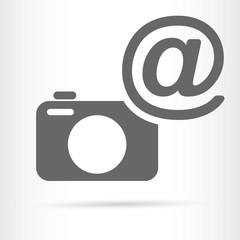 camera with e-mail symbol icon