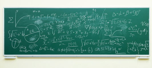 math formulas on green chalkboard