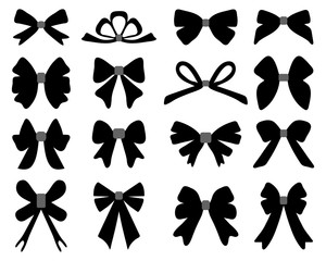Black silhouette of different bows, vector