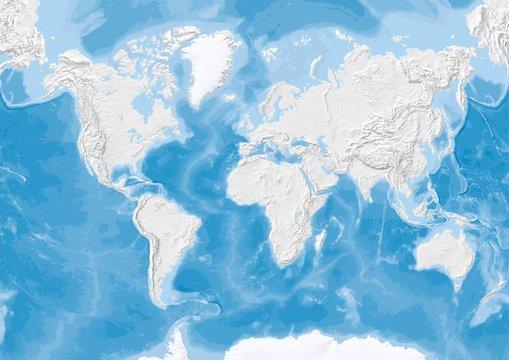 world map in Van der Grinten projection with shaded relief on terrain and sea floor