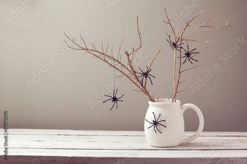 Halloween holiday background with spiders
