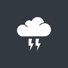 flat cloud flash icon