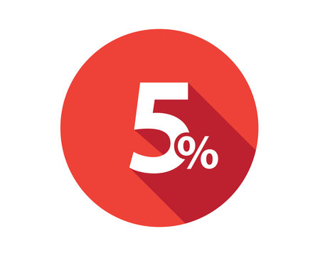 5 percent discount sale red circle