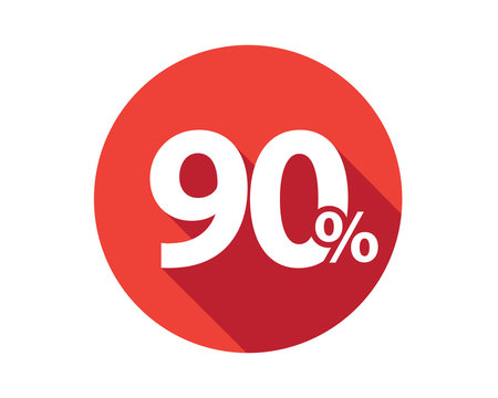 90 percent  discount sale red circle