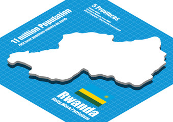 Rwanda map vector three dimensional