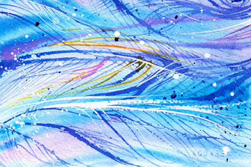 blue wave, line, feathers, wind, abstract watercolor background