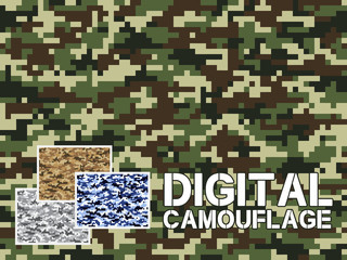 Four different colors digital camouflage military pattern for background, clothing, textile garment, wallpaper || Very easy to use, just click the camouflage pattern in color swatch
