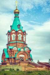 Свято-Никольский храм-памятник на берегу реки Енисей в городе Красноярск, Россия
