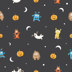 Vector seamless pattern to a Halloween with monsters, ghosts and pumpkins against a dark background.