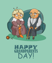 Happy grandparents day greeting card in doodle design. Happy retired couple