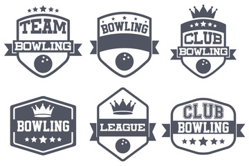 Set of Vintage Bowling Club Badge and Label