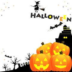 ハロウィン、魔女、白バック、テキストスペース、ジャックランタン