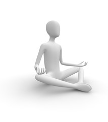 3D white man meditating in Butterfly pose