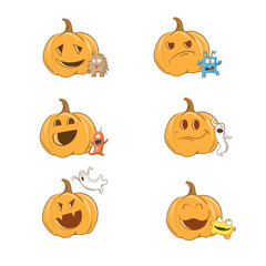 Vector Halloween set with pumpkins, ghosts and monsters.
