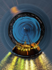 Abstract view, oil rig at night - Industrial World concept.