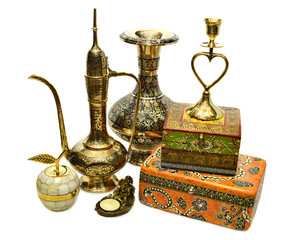 Collection of Indian dishes and boxes