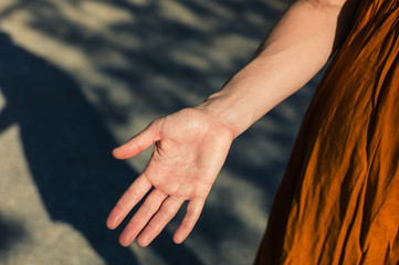 Palm of young woman's hand