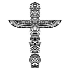 Doodle Totem Illustration