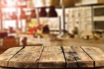 wooden desk space