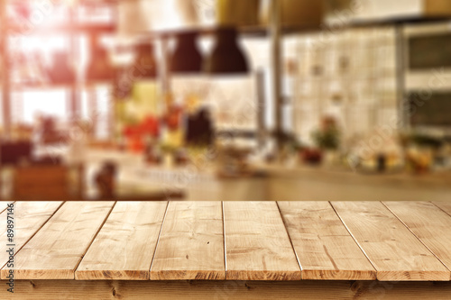 Wall mural wooden desk space