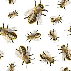 Watercolor bee pattern