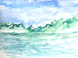 Watercolor landscape illustration with mountains and sea for cards, invitations, banners.