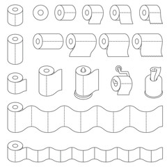 Toilet Paper and Kitchen Paper Towel Roll outline dark grey color