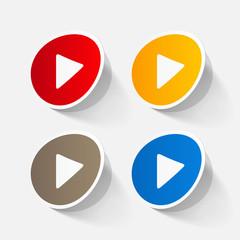 paper sticker: Play button web icon