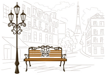 line drawing of Paris, a bench and a lantern