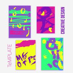 Set of 4 trendy poster design cards. Hand Drawn illustration for