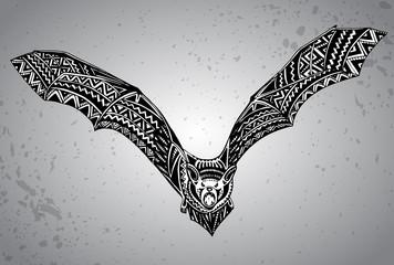 Hand drawn graphic ornate bat.
