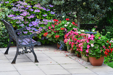 English country garden rustic patio area