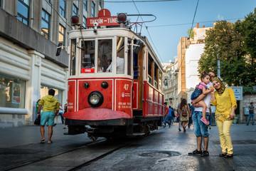 Nostalgic red tram of Taksim in Istanbul, Turkey.