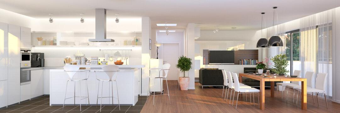 Blick in neubau luxus penthouse - panorama view inside luxury penthouse apartment