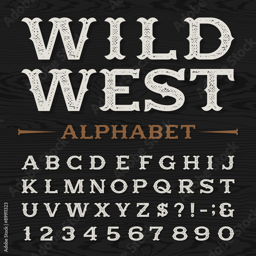 Western Style Retro Distressed Alphabet Vector Font Serif Type Dirty Letters Numbers And Symbols