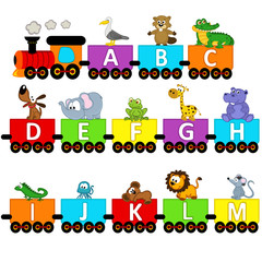 alphabet train animals from A to M - vector illustration, eps