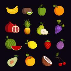 Modern fruit vector icon set
