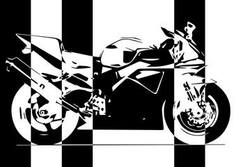 Moto pop art en noir et blanc