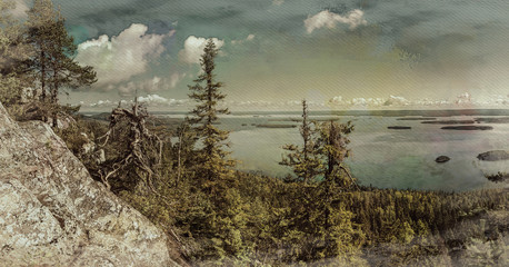 Wall Mural - Digital art, paint effect, panoramic view from the top of the Koli national park to lake Pielinen