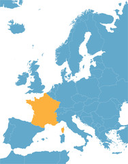 blue Europe vector map with indication of France