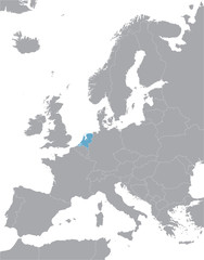 grey Europe vector map with indication of Netherlands