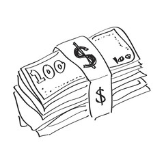 Simple doodle of a wad of bank notes