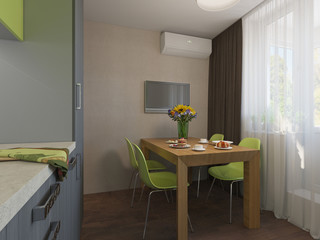 3D illustration of kitchen with wooden and green facades