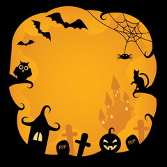 Cartoon background on Halloween with pumpkins, black cat, owl, bats, cobwebs, castles and tombs witch on an orange background