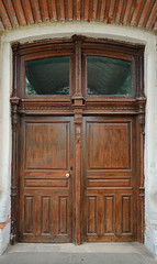 Old wooden carved door women's gymnasium 19th century, Yelets, R