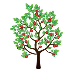 Tree, Green Leafs and Red Apples. Vector Illustration.