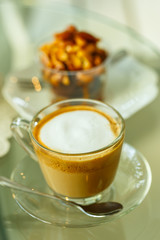Hot Latte in glass cup