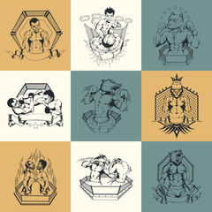 Set of nine illustration on Martial Arts topic.