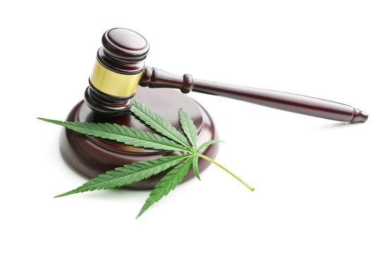 cannabis leaf and judge gavel
