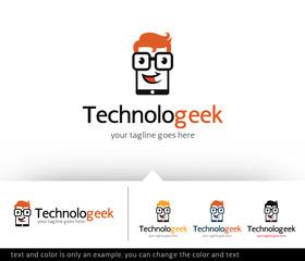 Technology Geek Logo Design Template Vector